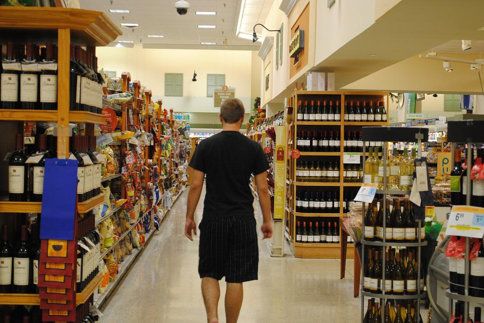 Supermarket, Grocery, Store, Shopping, Wine, Display