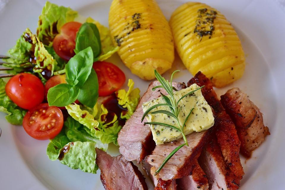 Steak, Veal Steak, Barbecue, Grilled, Supplement, Salad