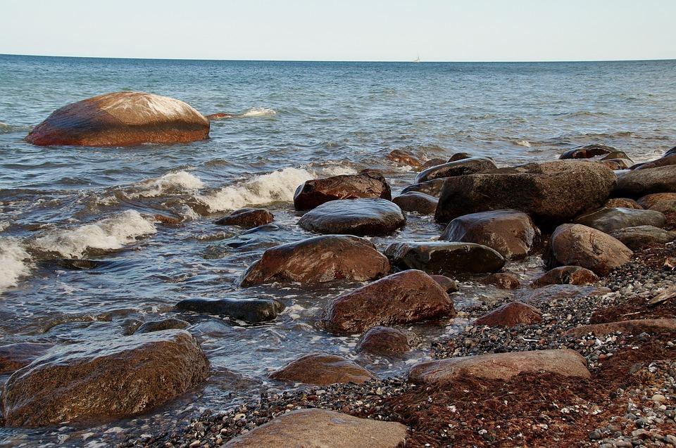 Sea, Boulders, Surf, Waves, Beach