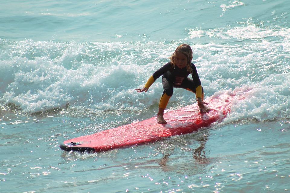 Surf, Child, Beach, Sol, Mar, Water, Kid, Blue, Playing