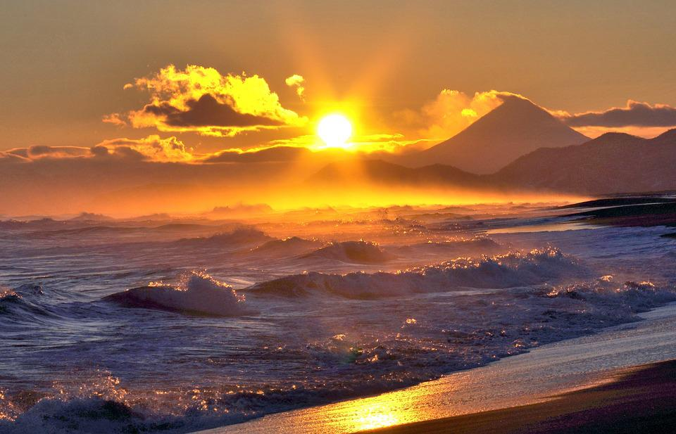Ocean, Volcano, Surf, Wave, Sunset, Sun, Clouds