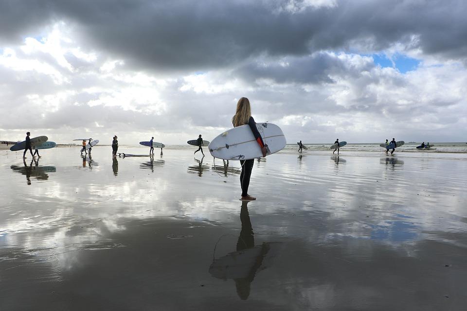 Surfers, Reflection, Beach, Surfergirl, Clouds, Surf