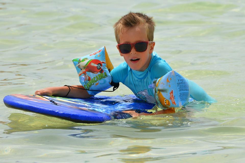 Child, Boy, People, Surfboard, Sunglasses, Straps