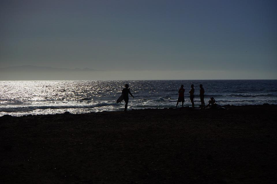 Beach, Surfer, Sea, Back Light, Playa De Las Americas
