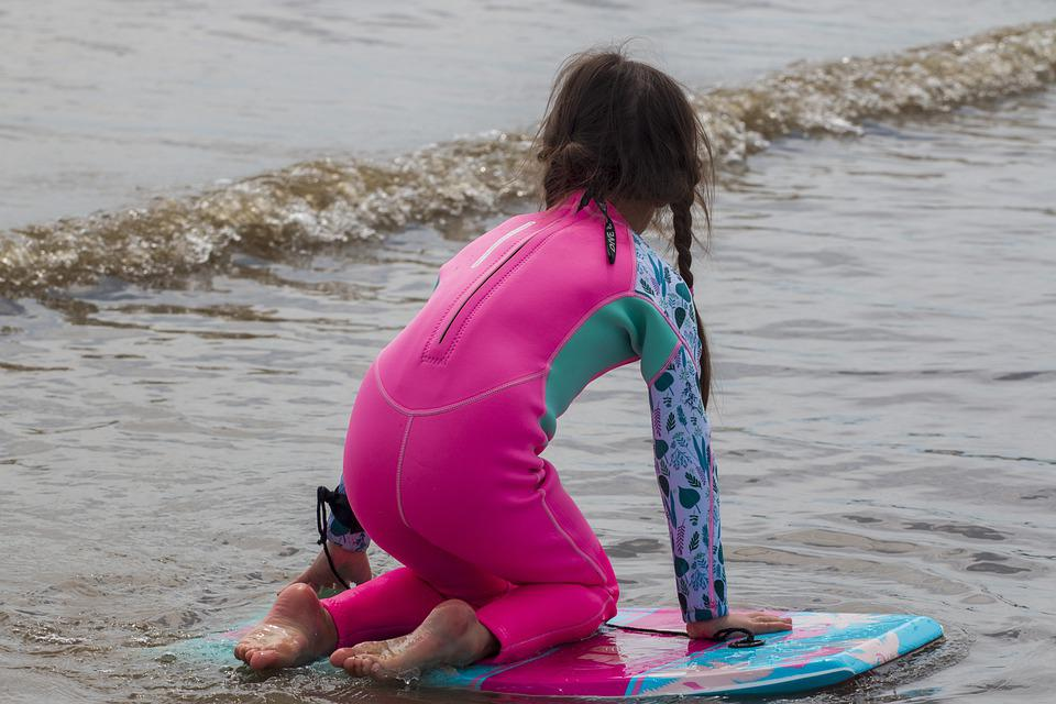 Girl, Surfboard, Beach, Surfing, Kid, Child, Young