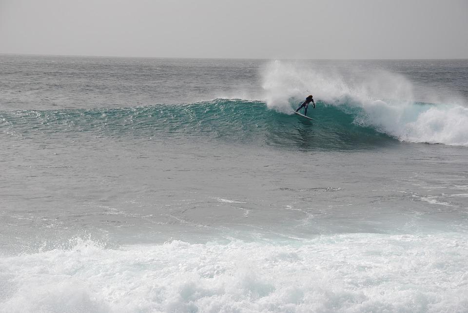 Surfing, Cap Verde In The Island Of Sal, Rider Unknown