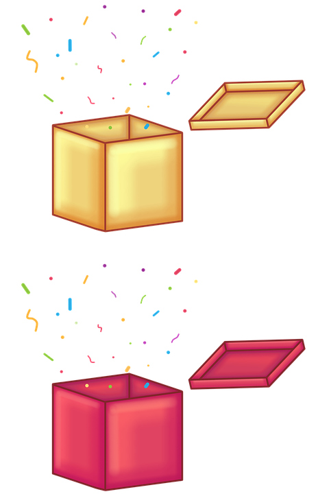 Surprise, Celebration, Boxes, Confetti, Golden Box