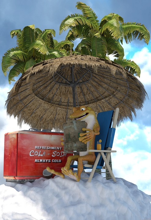 Summer, Sweating, Heat, Cool, Ice, Sun, Gecko, Animal