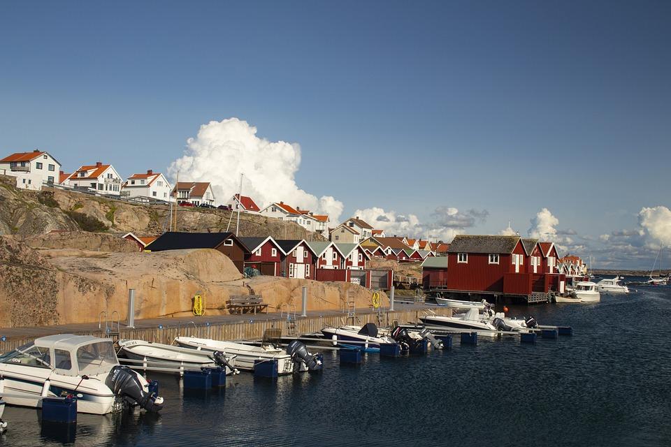 Sweden, West Coast, Sea, Bohuslän, Cliffs, Sky, Nature