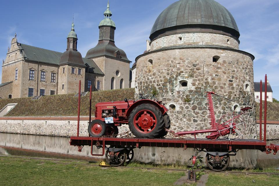 Castle, Antique, Tractor, Sweden, Farming, Fortress