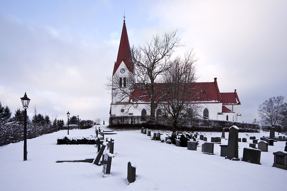 Sweden, Church, Architecture, Spire, Cemetery, Graves