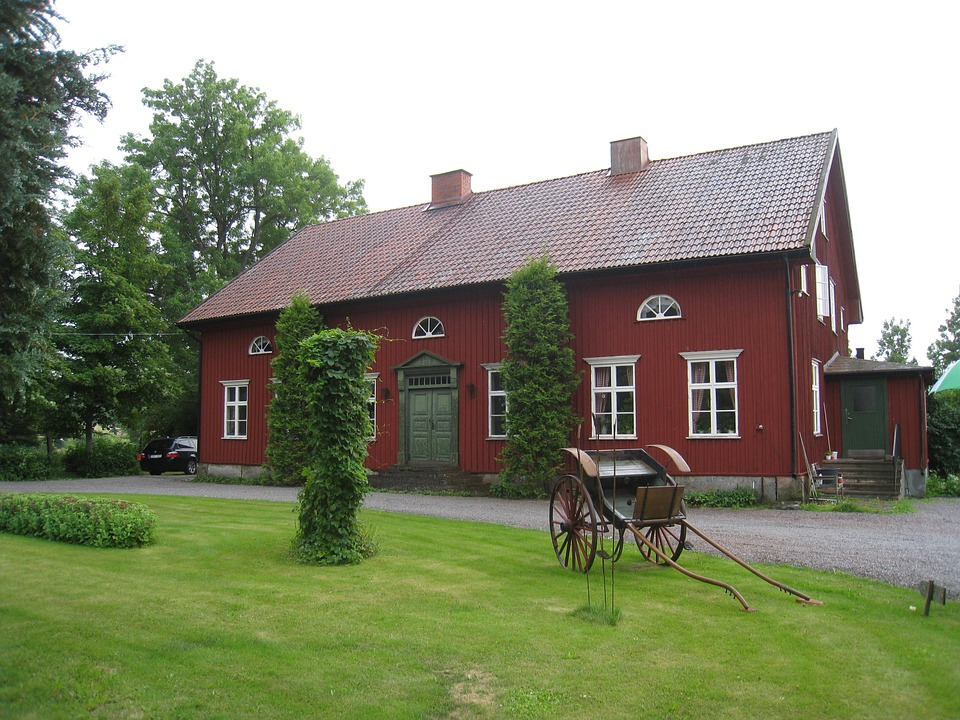 House, Sweden, Countryside, Lawn, Horse Carriage