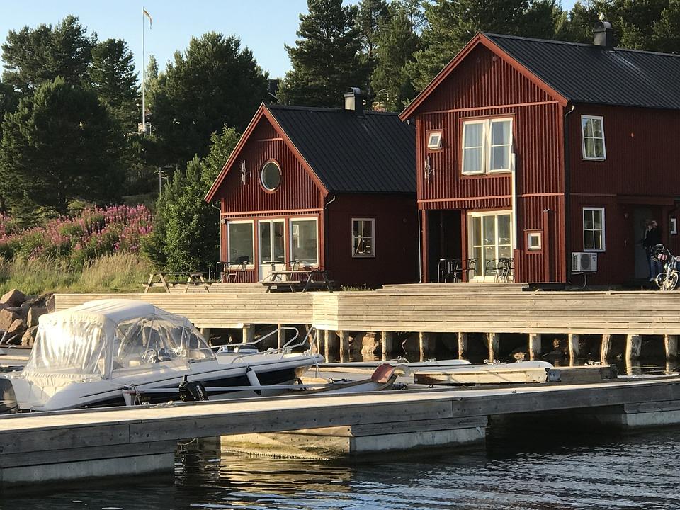High Coast, House, Boats, Sweden, Water, Summer, Bridge