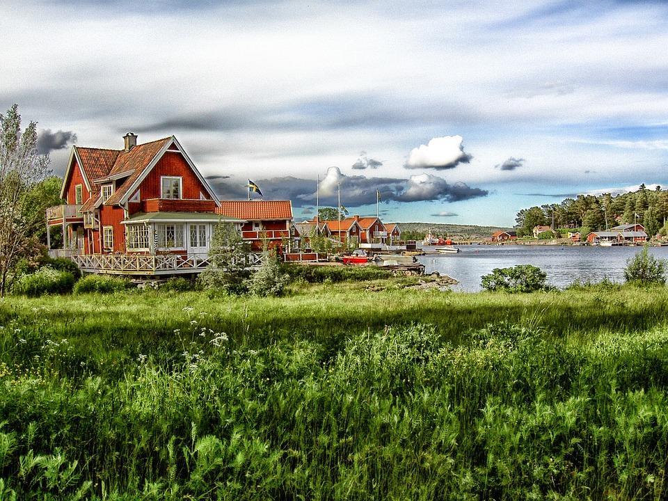 Alno, Sweden, Village, Lake, Water, Boats, Houses