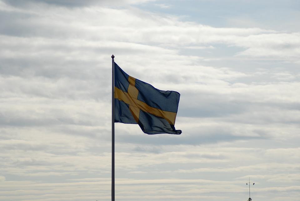 Swedish Flag, Cloudy Sky, Summer, Symbol, Flag, Wind