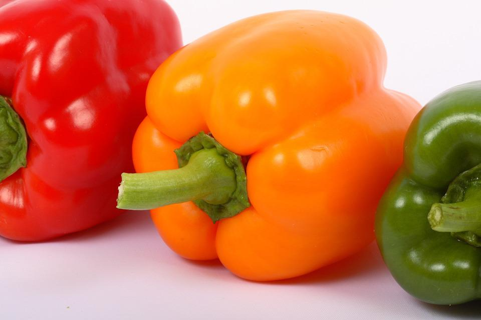 Vegetable, Red, Sweet Pepper, Green, Yellow, Paprika