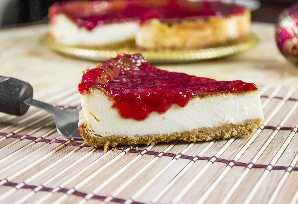 Cheesecake, Strawberry, Syrup, Sweet, Dessert, Slice