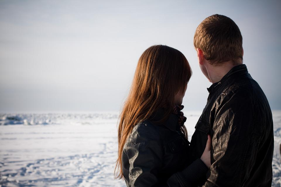 Sweethearts, Love, Winter, Gulf Of Finland, Couple