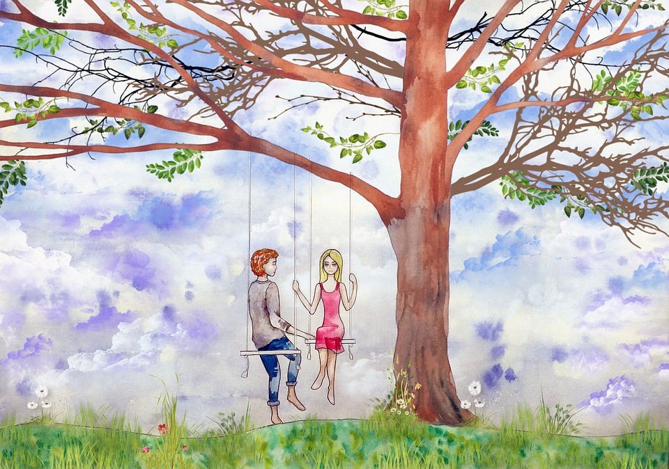 Tree, Swing, Sweethearts, Love, Sky, Branch, Couple