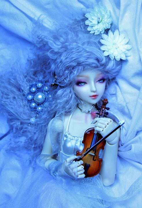 Sweetness, Doll, Violin, Blue, Flower, White, Wallpaper