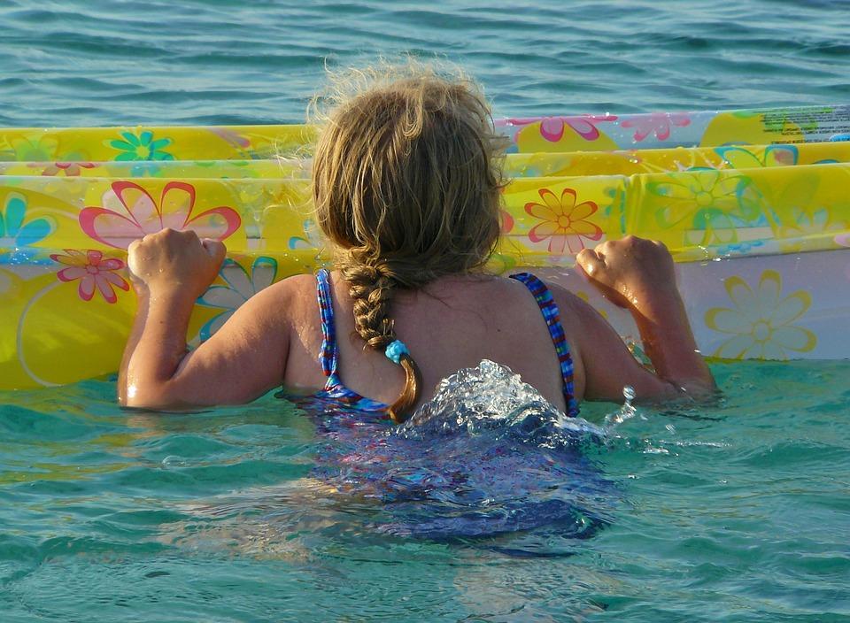 Child, Girl, Swim, Air Mattress, Sea, Holiday, Beach