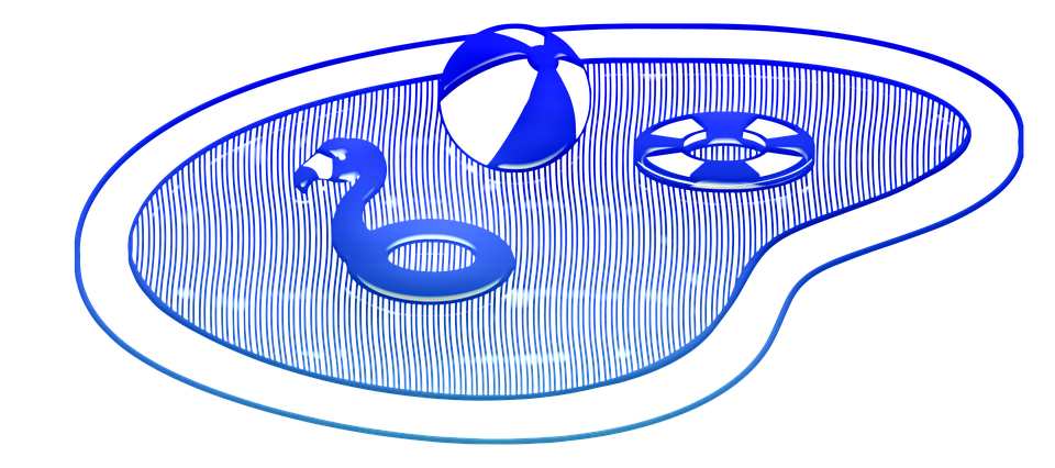 Swimming Pool, Line Art, Pool, Swim, Blue, Reflection