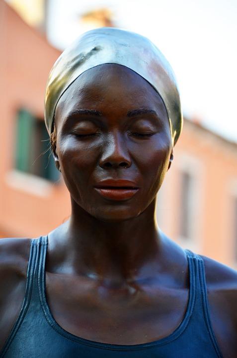 Woman, Swimmer, Head, Bathing Cap, Badenixe, Art