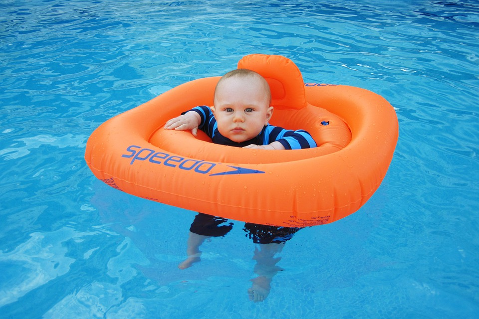 Pool, Child, Cute, Baby, Swimming, Little, Seated