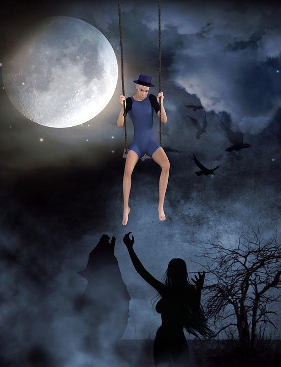 Moon, Swing, Fantasy, Spooky, Halloween, Dark, Night