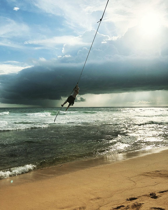 Beach, Sand, Swing, Ocean, Sunset, Clouds, Flying