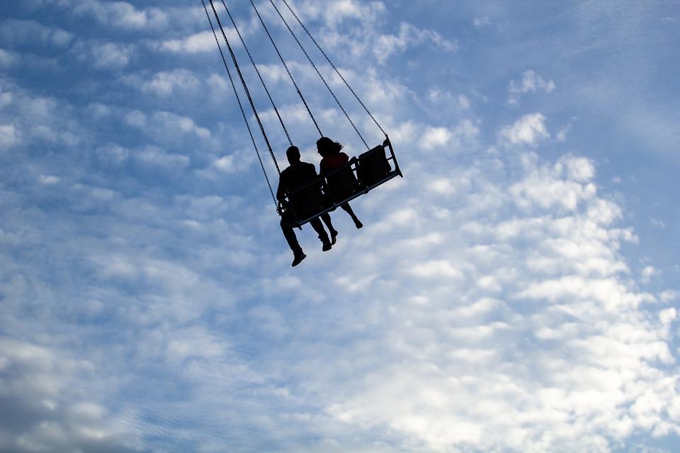 Silhouette, Swings, Sky, Swings In Sky, Couple, Couples