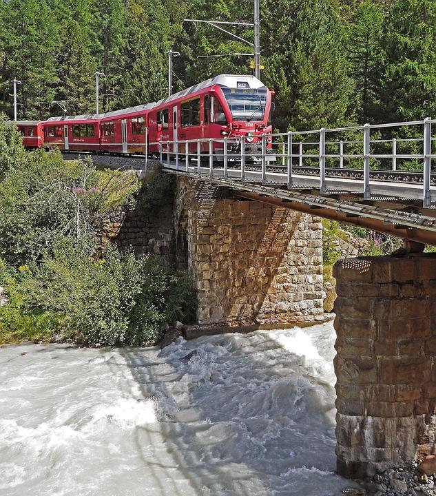 Switzerland, Bernina Railway, Bridge, Glacier Flow