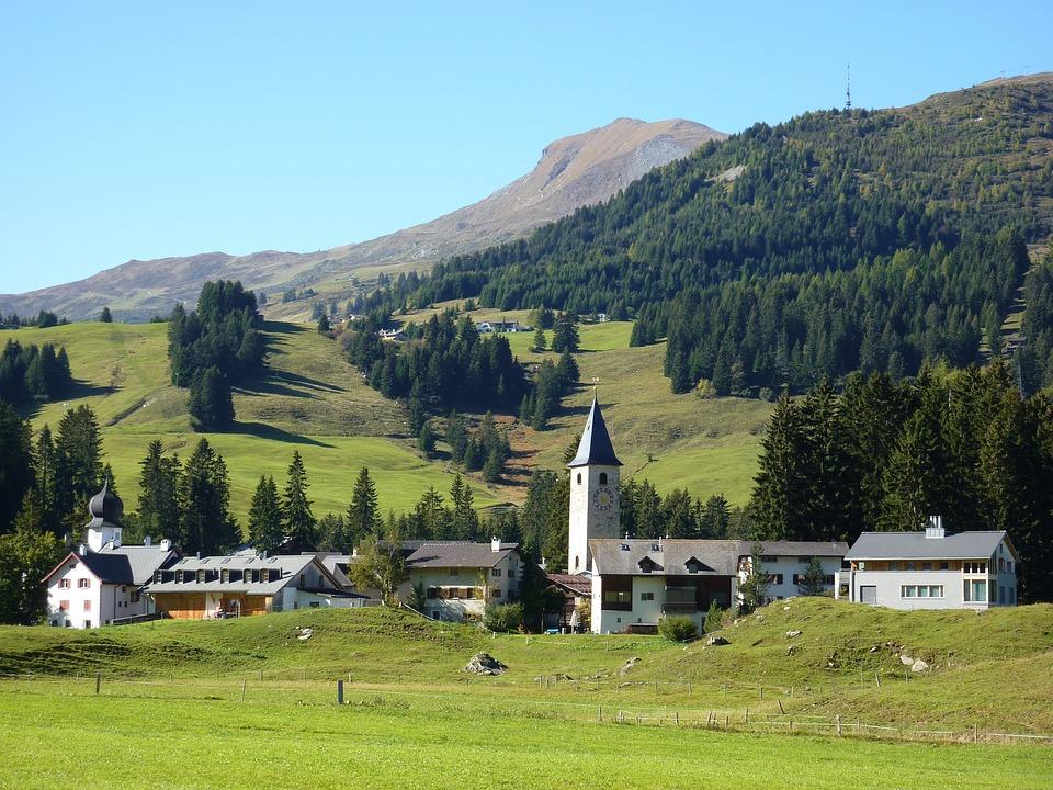 Village, Steeple, Church, Sky, Parpan, Switzerland