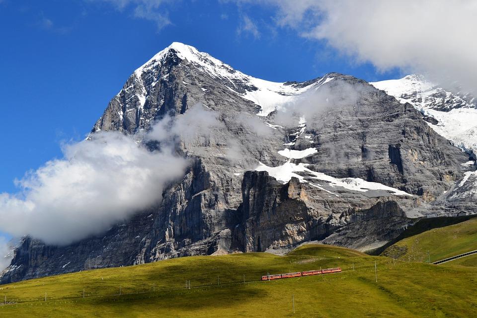 Mountain, Switzerland, Train, Landscape, Clouds, Blue