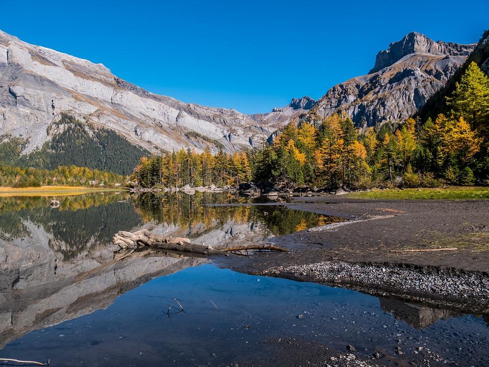 Valais, Switzerland, Mountains, Lakes, Mirror Effect
