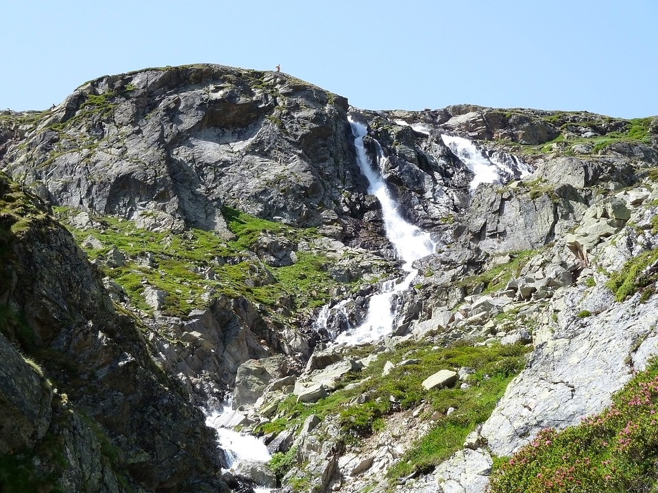 Waterfall, Water, Rock, Cliffs, Mountain, Switzerland