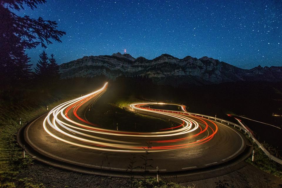 Light Traces, Säntis, Switzerland, Night, Alpstein