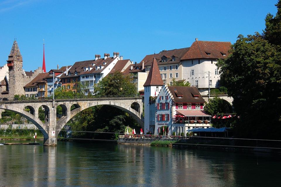 Switzerland, Bremgarten, Railway Bridge, River