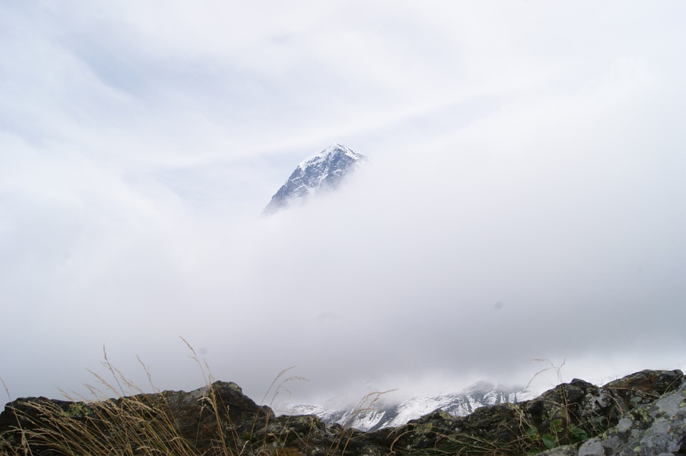 Mountain, Eiger, Switzerland, Rock, Snow, Fog, Sky