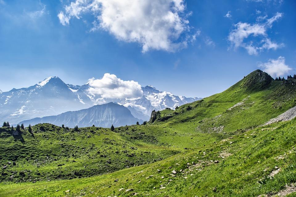 Mountain, Alps, Hills, Valley, Switzerland, Sky, Clouds