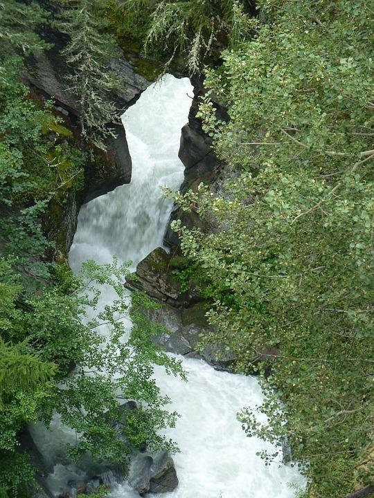 Waterfall, Switzerland, Landscape, Nature, Bergrivier