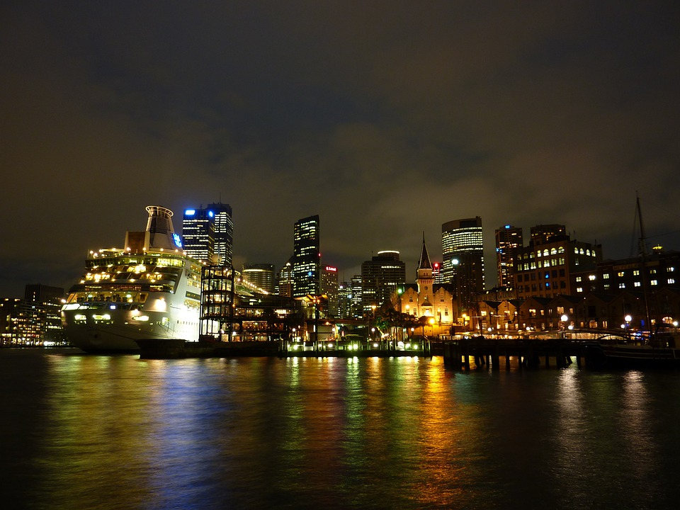 Sydney, Port, Australia, Night, City, Skyscraper