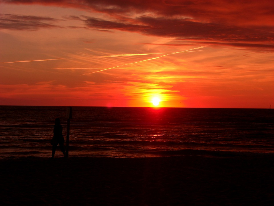 Sunset, Sylt, At Dusk, Clouds, Red