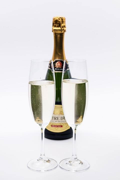 Champagne, Glasses, Bottle, Prost, Sylvester