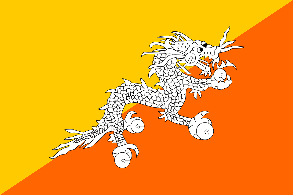 Bhutan, Flag, National, Asia, Country, Nation, Symbol