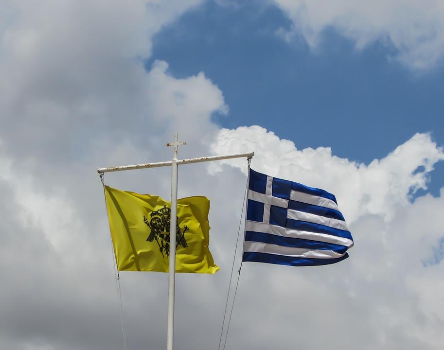 Flags, Waving, Byzantium, Greece, Nation, Symbol