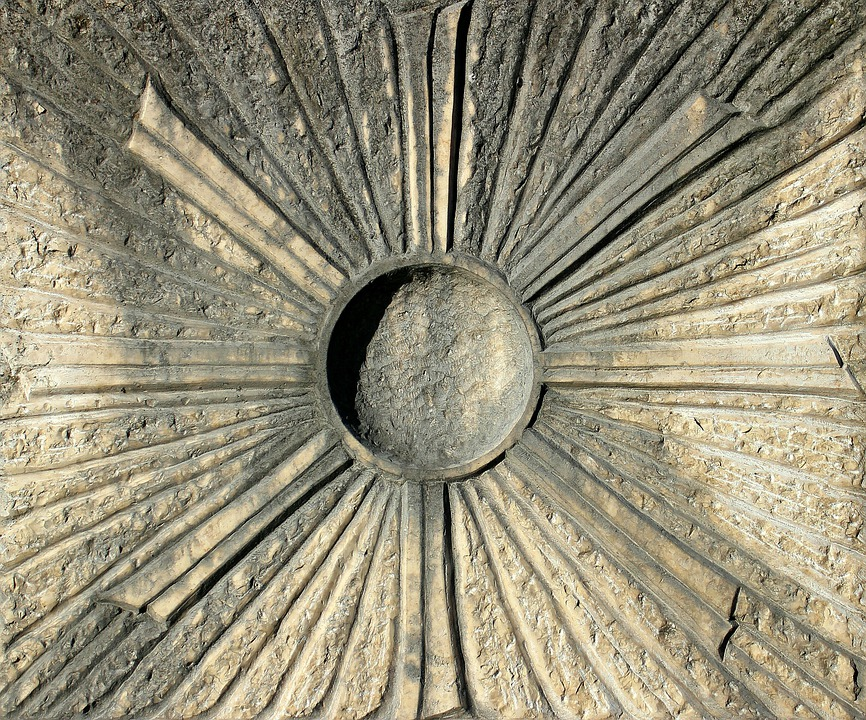 Relief, Symbol, Sun, Rays, Center, District
