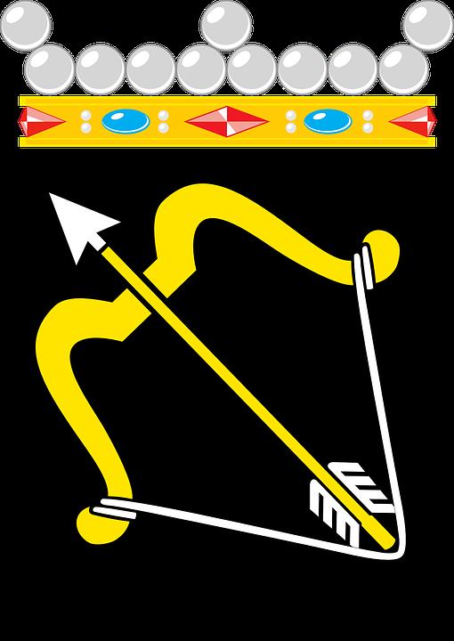 Arrow, Coat, Arms, Bow, Weapon, Symbol