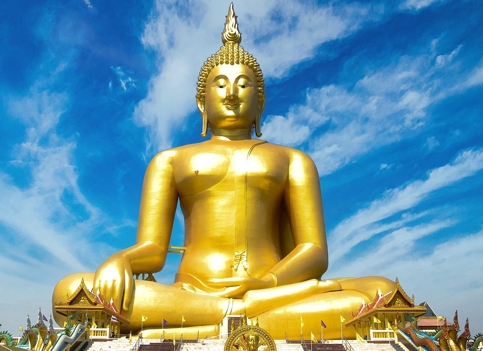 Statue, Gold, Golden, Symbol, Buddhism