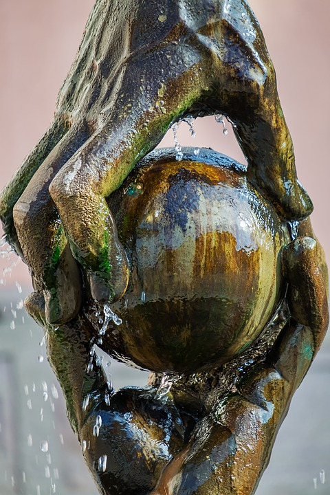 Hands, Ball, Symbol, Together, Water, Water Feature
